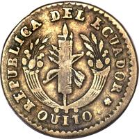 obverse of 1 Real (1836 - 1841) coin with KM# 17 from Ecuador.