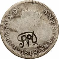 obverse of 2 Reales - Countermarked Coinage (1819) coin with KM# 6 from Ecuador.