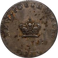 obverse of 15 Pence - George III (1813) coin with KM# 1 from Australia. Inscription: NEW · SOUTH · WALES 1813