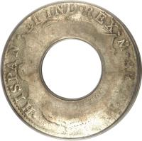 reverse of 5 Shillings - George III - Holey Dollar (1813) coin with KM# 2.9 from Australia. Inscription: HISPAN · ET IND · REX · PS · 8R · I · J ·