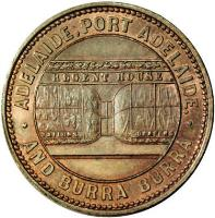 obverse of 1/2 Penny - Crocker & Hamilton Adelaide, South Australia (1857) coin with KM# Tn39 from Australia. Inscription: · ADELAIDE ; PORT ADELAIDE. · REGENT HOUSE AND BURRA BURRA