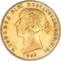 obverse of 1/2 Sovereign - Victoria (1857 - 1866) coin with KM# 3 from Australia. Inscription: VICTORIA D:G: BRITANNIAR:REG:F:D: 1859