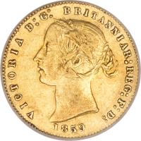 obverse of 1/2 Sovereign - Victoria (1857 - 1866) coin with KM# 3 from Australia. Inscription: VICTORIA D:G: BRITANNIAR:REG:F:D: 1859