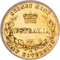 reverse of 1/2 Sovereign - Victoria (1857 - 1866) coin with KM# 3 from Australia. Inscription: SYDNEY MINT AUSTRALIA HALF SOVEREIGN