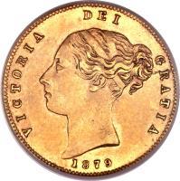 obverse of 1/2 Sovereign - Victoria (1871 - 1887) coin with KM# 5 from Australia. Inscription: VICTORIA DEI GRATIA 1879