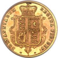 reverse of 1/2 Sovereign - Victoria (1871 - 1887) coin with KM# 5 from Australia. Inscription: BRITANNIARUM REGINA FID: DEF: