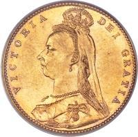 obverse of 1/2 Sovereign - Victoria (1887 - 1893) coin with KM# 9 from Australia. Inscription: VICTORIA DEI GRATIA J. E. B.