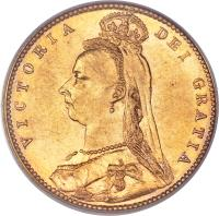 obverse of 1/2 Sovereign - Victoria (1887 - 1893) coin with KM# 9 from Australia. Inscription: VICTORIA DEI GRATIA J. E. B.