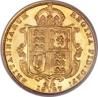 reverse of 1/2 Sovereign - Victoria (1887 - 1893) coin with KM# 9 from Australia. Inscription: BRITANNIARUM REGINA FID: DEF: 18 M 87