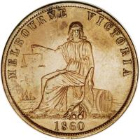 obverse of 1 Penny - John Andrew & Co. - Melbourne, Victoria (1860) coin with KM# Tn11 from Australia. Inscription: MELBOURNE VICTORIA 1860