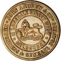 reverse of 1 Penny - John Andrew & Co. - Melbourne, Victoria (1860) coin with KM# Tn11 from Australia. Inscription: JOHN ANDREW & Co. · IMPORTERS & GENERAL DRAPERS · II LONSDALE STREET WEST · MELBOURNE · COARD LONDON