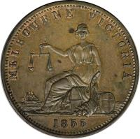 obverse of 1 Penny - Edwd. De Carle & Co. - Melbourne, Victoria (1855) coin with KM# Tn55 from Australia. Inscription: MELBOURNE VICTORIA 1855