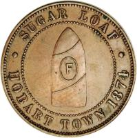 obverse of 1 Penny - J. G. Fleming Hobart, Tasmania (1874) coin with KM# Tn71 from Australia. Inscription: SUGAR LOAF F · HOBART TOWN 1874 ·