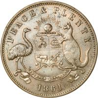 obverse of 1 Penny - Robert Hyde & Co. - Melbourne, Victoria (1857 - 1861) coin with KM# Tn133 from Australia. Inscription: PEACE & PLENTY ADVANCE AUSTRALIA 1861