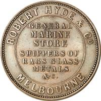 reverse of 1 Penny - Robert Hyde & Co. - Melbourne, Victoria (1857 - 1861) coin with KM# Tn133 from Australia. Inscription: ROBERT HYDE & Co MELBOURNE GENERAL MARINE STORE SHIPPERS OF RAGS GLASS METALS & · C.