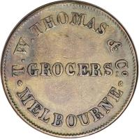 obverse of 1/2 Penny - T. W. Thomas & Co. - Melbourne, Victoria (1854) coin with KM# Tn248 from Australia. Inscription: T. W. THOMAS & C° GROCERS: MELBOURNE