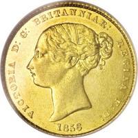obverse of 1/2 Sovereign - Victoria (1855 - 1856) coin with KM# 1 from Australia. Inscription: VICTORIA D:G: BRITANNIAR: REGINA F:D: 1856
