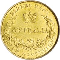 reverse of 1/2 Sovereign - Victoria (1855 - 1856) coin with KM# 1 from Australia. Inscription: SYDNEY MINT AUSTRALIA HALF SOVEREIGN
