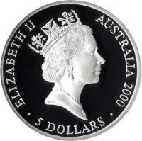 obverse of 5 Dollars - Elizabeth II - Sydney 2000 Olympics: Great White Sharks - Sydney 2000 Silver Bullion; 3'rd Portrait (1998) coin with KM# 372 from Australia. Inscription: ELIZABETH II AUSTRALIA 2000 RDM · 5 DOLLARS ·