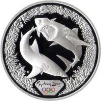 reverse of 5 Dollars - Elizabeth II - Sydney 2000 Olympics: Great White Sharks - Sydney 2000 Silver Bullion; 3'rd Portrait (1998) coin with KM# 372 from Australia. Inscription: Sydney 2000 C