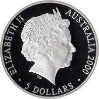 obverse of 5 Dollars - Elizabeth II - Sydney 2000 Olympics: Emu - Sydney 2000 Silver Bullion; 3'rd Portrait (1999) coin with KM# 438 from Australia. Inscription: ELIZABETH II AUSTRALIA 2000 IRB · 5 DOLLARS ·