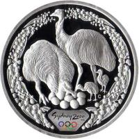 reverse of 5 Dollars - Elizabeth II - Sydney 2000 Olympics: Emu - Sydney 2000 Silver Bullion; 3'rd Portrait (1999) coin with KM# 438 from Australia. Inscription: Sydney 2000 C