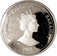 obverse of 100 Dollars - Elizabeth II - Blue Whale (1993) coin with KM# 163 from Bahamas. Inscription: COMMONWEALTH OF THE BAHAMAS RDM · 1993 ·