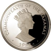 obverse of 100 Dollars - Elizabeth II - Humpback Whale (1995) coin with KM# 185 from Bahamas. Inscription: COMMONWEALTH OF THE BAHAMAS · 1995 ·