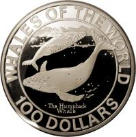 reverse of 100 Dollars - Elizabeth II - Humpback Whale (1995) coin with KM# 185 from Bahamas. Inscription: WHALES OF THE WORLD · The Humpback Whale 100 DOLLARS