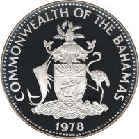 obverse of 10 Dollars - Elizabeth II - Independence (1978) coin with KM# 79 from Bahamas. Inscription: COMMONWEALTH OF THE BAHAMAS FORWARD, UPWARD, ONWARD, TOGETHER 1978