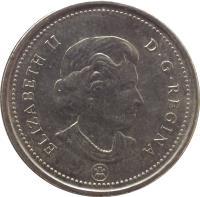 obverse of 25 Cents - Elizabeth II - 4'th Portrait (2003 - 2015) coin with KM# 493 from Canada. Inscription: ELIZABETH II D · G · REGINA P