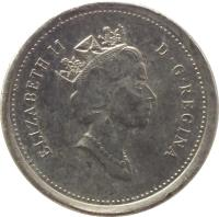 obverse of 10 Cents - Elizabeth II - 3'rd Portrait (1990 - 2000) coin with KM# 183 from Canada. Inscription: ELIZABETH II D · G · REGINA