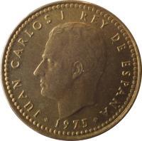obverse of 1 Peseta - Juan Carlos I (1975) coin with KM# 806 from Spain. Inscription: JUAN CARLOS I REY DE ESPAÑA 1975