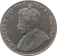 obverse of 5 Cents - George V (1922 - 1936) coin with KM# 29 from Canada. Inscription: GEORGIVS V DEI GRA: REX ET IND:IMP: