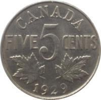 reverse of 5 Cents - George V (1922 - 1936) coin with KM# 29 from Canada. Inscription: CANADA FIVE 5 CENTS 1926