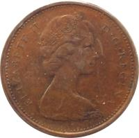 obverse of 1 Cent - Elizabeth II - Round; Heavier; 2'nd Portrait (1965 - 1979) coin with KM# 59 from Canada. Inscription: ELIZABETH II D · G · REGINA