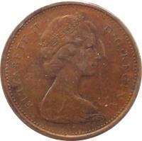 obverse of 1 Cent - Elizabeth II - Round; Heavier; 2'nd Portrait (1965 - 1979) coin with KM# 59 from Canada. Inscription: ELIZABETH II D · G · REGINA