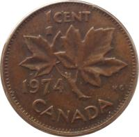 reverse of 1 Cent - Elizabeth II - Round; Heavier; 2'nd Portrait (1965 - 1979) coin with KM# 59 from Canada. Inscription: 1 CENT 1975 KG CANADA