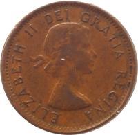 obverse of 1 Cent - Elizabeth II - 1'st Portrait (1953 - 1964) coin with KM# 49 from Canada. Inscription: ELIZABETH II DEI GRATIA REGINA