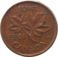 reverse of 1 Cent - Elizabeth II - 1'st Portrait (1953 - 1964) coin with KM# 49 from Canada. Inscription: 1 CENT CANADA 1964 K · G