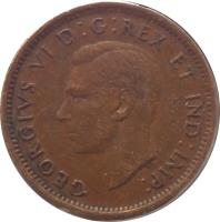 obverse of 1 Cent - George VI - With IND IMP (1937 - 1947) coin with KM# 32 from Canada. Inscription: GEORGIVS VI D:G:REX ET IND:IMP: