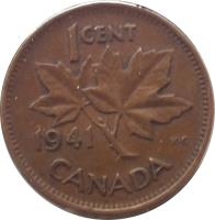 reverse of 1 Cent - George VI - With IND IMP (1937 - 1947) coin with KM# 32 from Canada. Inscription: 1CENT 1937 K · G CANADA