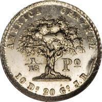 reverse of 1/16 Peso (1850 - 1862) coin with KM# 101 from Costa Rica.