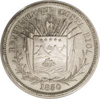 obverse of 1/4 Peso (1850 - 1855) coin with KM# 103 from Costa Rica. Inscription: REPUBLICA DE COSTA RICA 1850