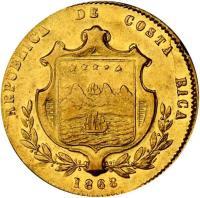 obverse of 5 Pesos (1867 - 1870) coin with KM# 114 from Costa Rica. Inscription: REPUBLICA DE COSTA RICA 1868