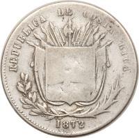 obverse of 50 Centavos (1865 - 1875) coin with KM# 112 from Costa Rica. Inscription: REPUBLICA DE COSTA RICA 1863