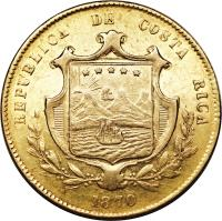 obverse of 10 Pesos (1870 - 1872) coin with KM# 115 from Costa Rica.