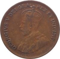 obverse of 1 Cent - George V - Smaller (1920 - 1936) coin with KM# 28 from Canada. Inscription: GEORGIVS V DEI GRA: REX ET IND:IMP: