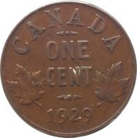 reverse of 1 Cent - George V - Smaller (1920 - 1936) coin with KM# 28 from Canada. Inscription: CANADA ONE CENT 1923