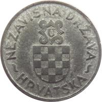 obverse of 2 Kune (1941) coin with KM# 2 from Croatia. Inscription: ~NEZAVISNA DRŽAVA~HRVATSKA